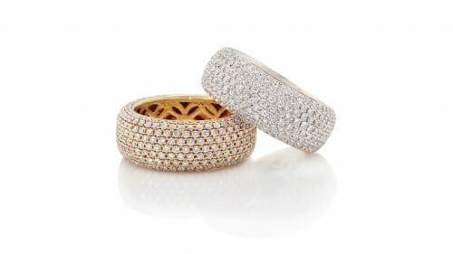 Diamond Pave Dress Rings | Available in either 18 carat white gold or yellow gold.