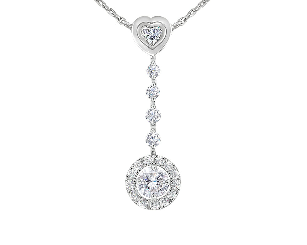 Diamond Pendants Jewellery Collection | White Gold Heart & Round Diamond Drop Pendant