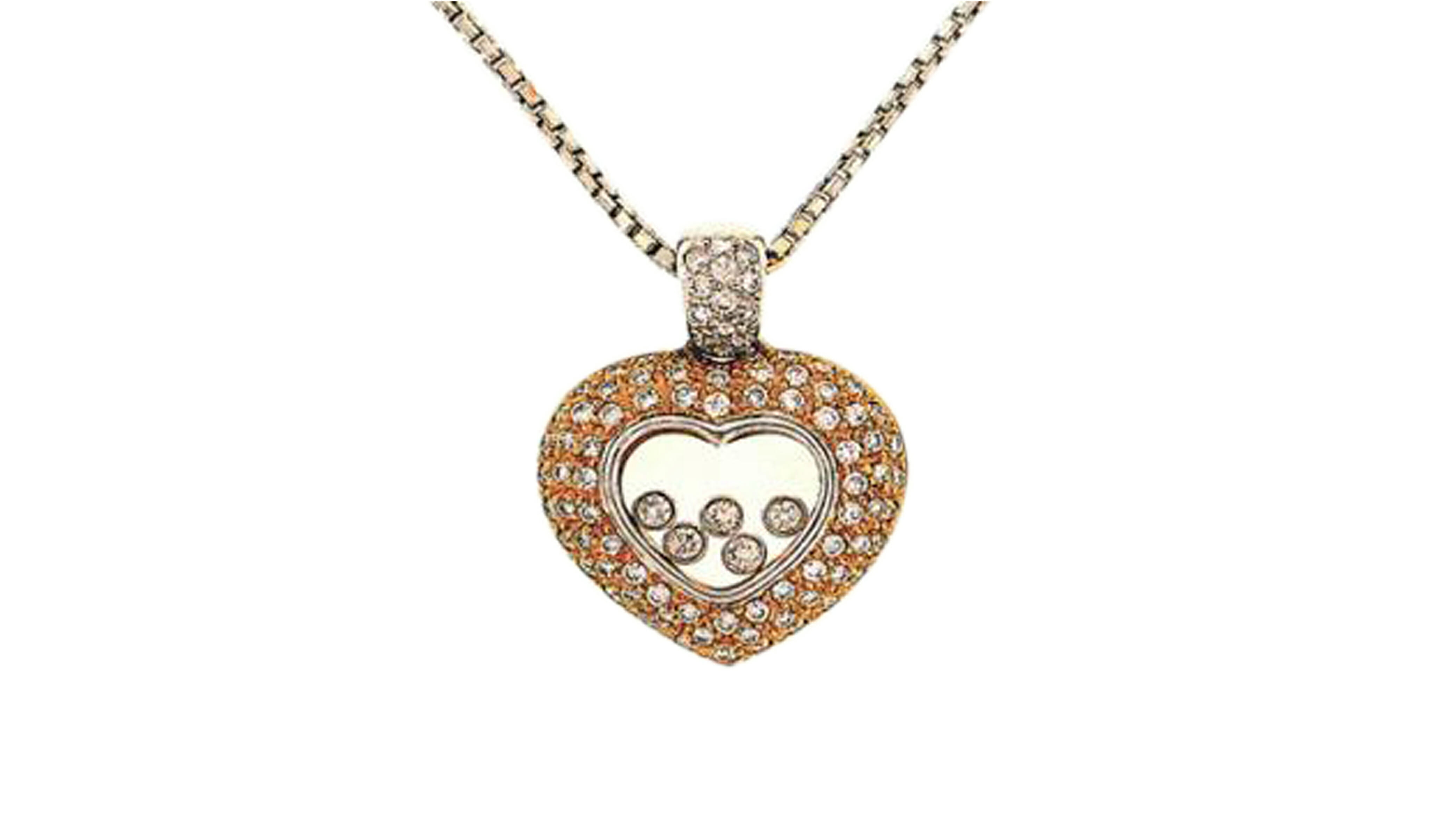 Enchanted rose gold diamond halo heart diamond pendant