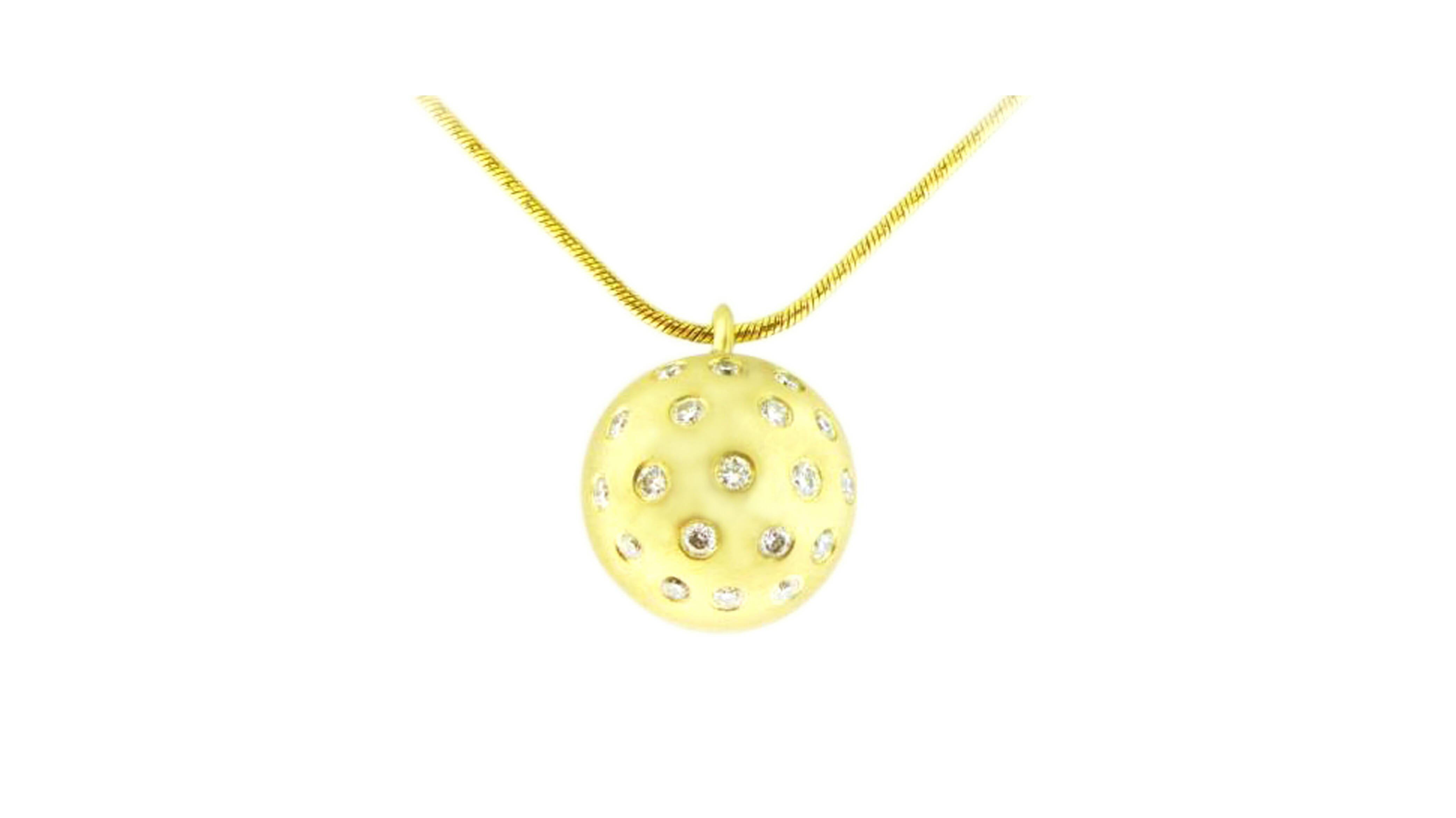 Yellow Gold Pendant | Swiss-Set Diamond ball Pendant