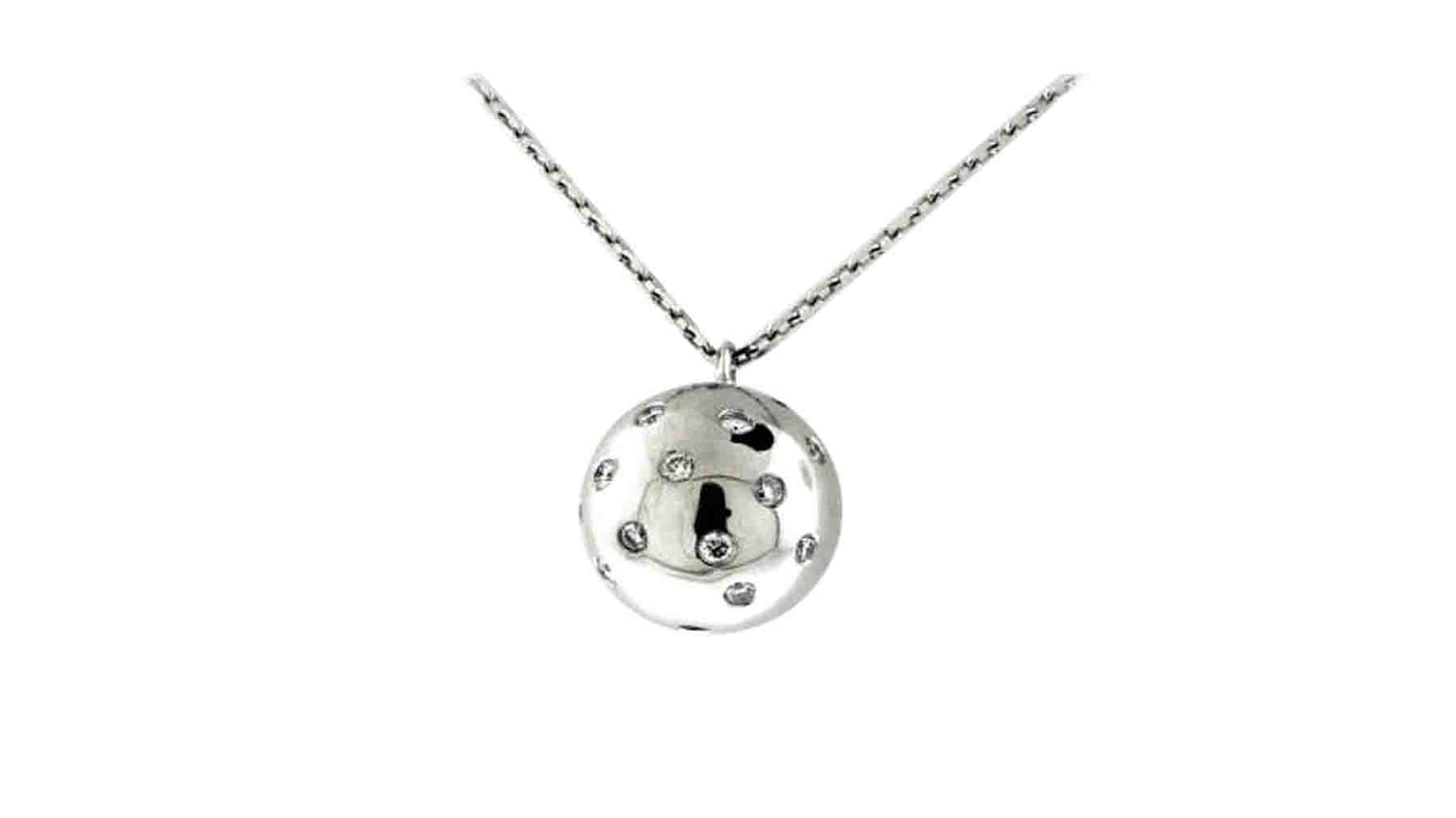 Swiss-set ball diamond pendant | White Gold Diamond Ball Pendant
