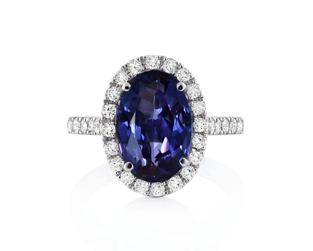 Tanzanite Jewellery Collection | Oval Tanzanite & Round Diamond White Gold Ring