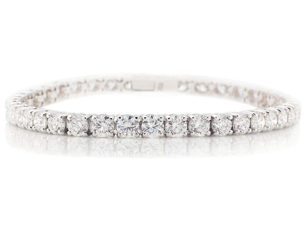 Diamond Tennis Bracelet Jewellery Collection | A Classic White Gold, Four Claw Diamond Tennis Bracelet