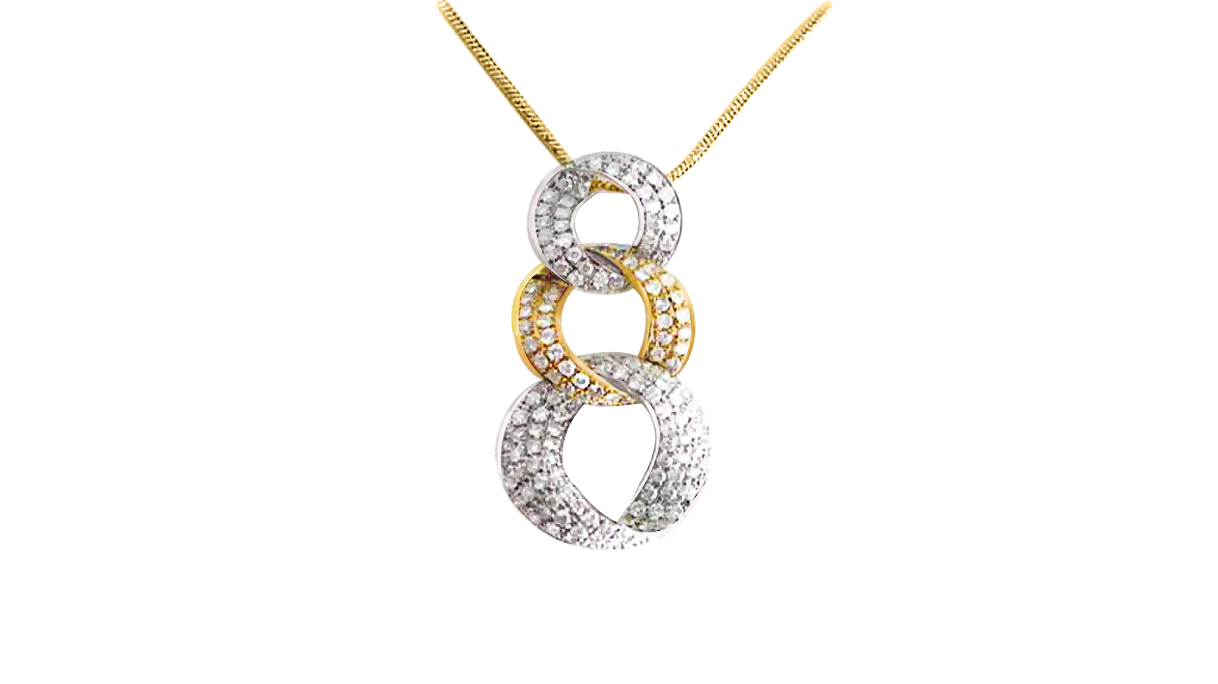 Diamond Two-Tone Fancy Link Pendant | White and yellow gold pendant