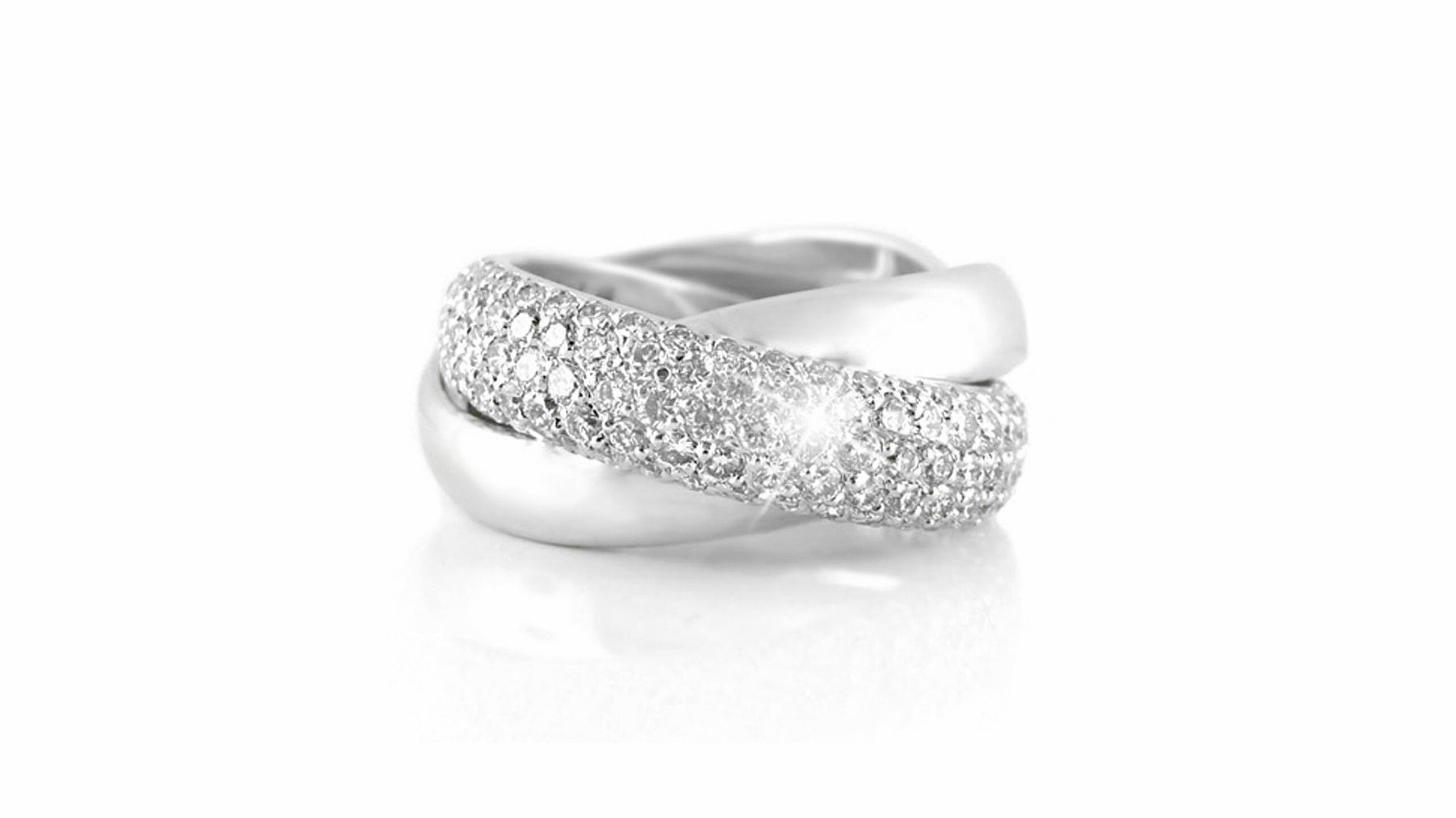 Pavé-Set Diamond Crossover Ring | 18 Carat White Gold Pave Link Ring