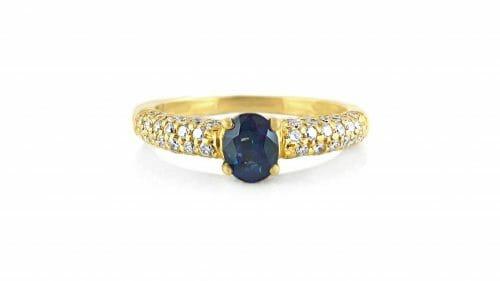 Diamond & Sapphire Gemstone Ring | 18ct Yellow Gold