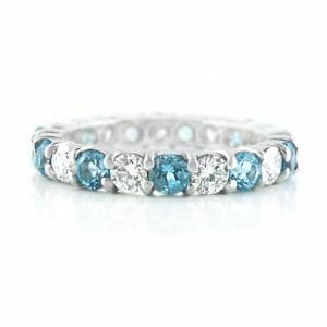 blue topaz & diamond eternity ring | 18ct White Gold Eternity Ring With 11 Blue Topaz & 11White Diamonds