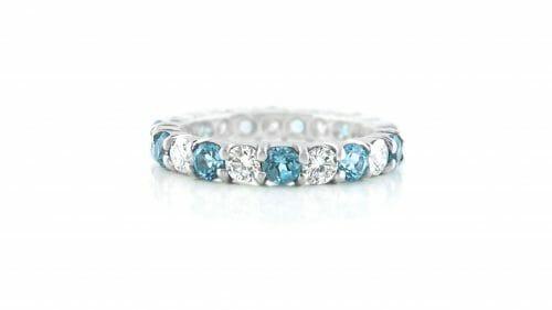 blue topaz & diamond eternity ring | 18ct White Gold Eternity Ring With 11 Blue Topaz & 11White Diamonds