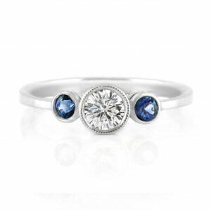diamond & sapphire trilogy ring