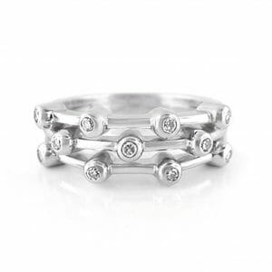 White Gold Diamond Bubble Dress Ring | 18ct White Gold Ring Set With 11 Tube-Set Round Brilliant Diamonds
