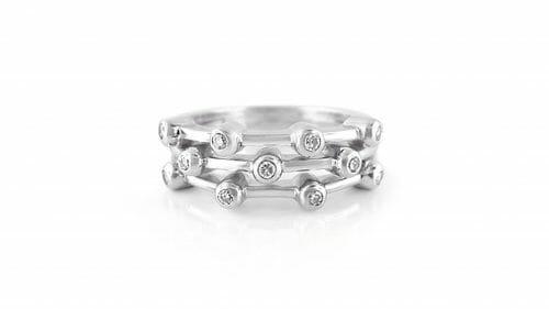 White Gold Diamond Bubble Dress Ring | 18ct White Gold Ring Set With 11 Tube-Set Round Brilliant Diamonds