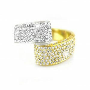 Diamond Pavé Ribbon Ring | Two Tone Diamond Dress Ring Set In 18 Carat White & Yellow Gold.