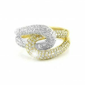 Two-Tone Diamond Pavé Interlocking Ring | 18 carat white gold and yellow gold , interlocking diamond pavé dress ring