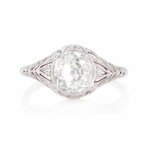 Antique Old Cut Diamond Ring | A floral vinatge-style design in platinum with a 1.35ct old mine cut diamond