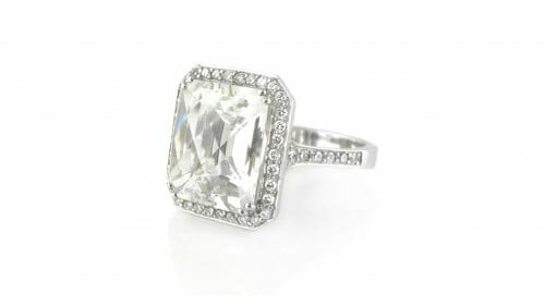 Silver Topaz & Diamond Halo Dress Ring | Handcrafted in 18 Carat White Gold