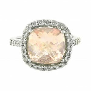 Cushion Cut Morganite & Diamond Halo Ring | 18ct White Gold Ring Boasting A 2.48ct Morganite Surrounded By A Halo Of Diamonds