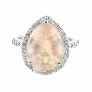 Rose Quartz & Diamond Halo Ring | 18ct White Gold Rose Quartz Gemstone Ring