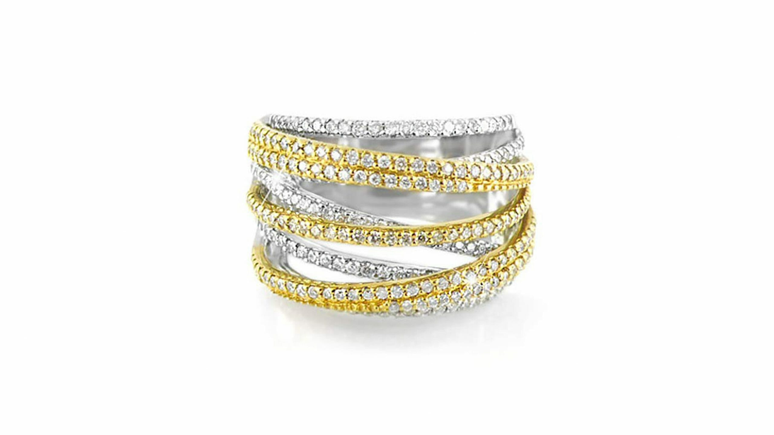 two tone criss-cross pavé dress ring | 18ct White & Yellow Gold Diamond Ring With Crisscrossing Bands