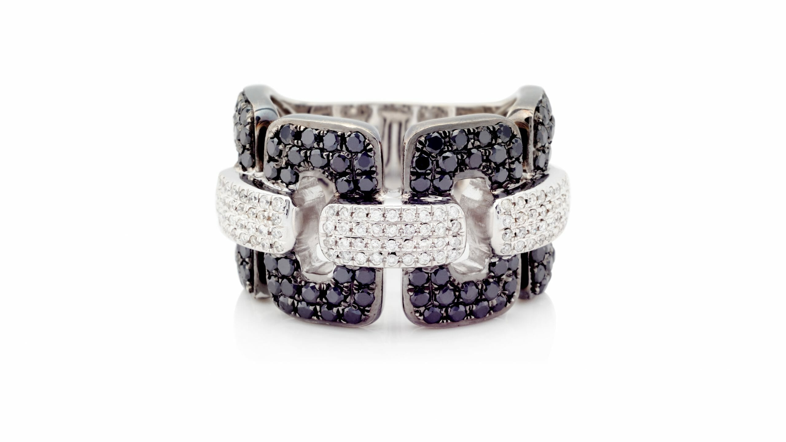 Black & White Diamond Link Dress Ring