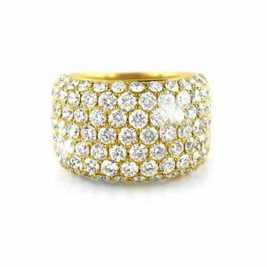 Broad Pavé Diamond Dress Ring | 18 Carat Yellow Gold Diamond Ring