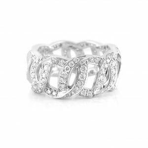 Fancy-Link Diamond Pave Dress Ring | 18 Carat White Gold Diamond Dress Ring