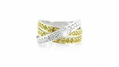 Two-tone crossover pave ring | Set in 18ct white gold dress ring