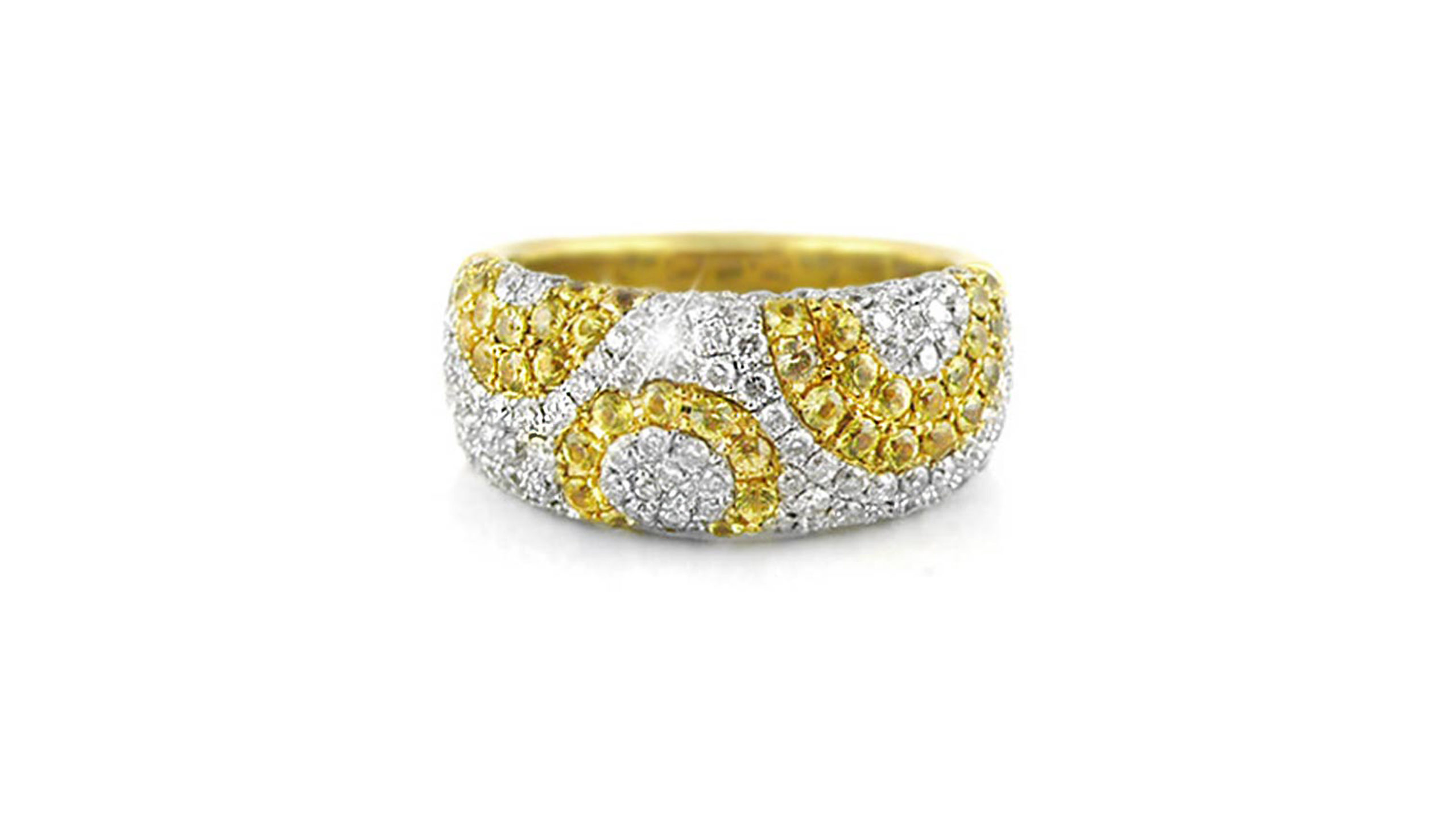 Diamond & Yellow Sapphire Patterned Pavé Ring