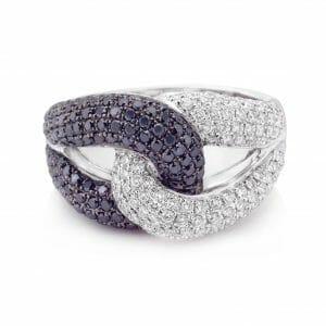 Black & White Diamond Interlocking Dress Ring | An interlocking dress ring with black & white diamonds set in 18 carat white gold.