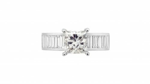 princess cut & baguette diamond dress ring | 18 Carat White Gold Dress Ring, Set With A 2 Carat Princess Diamond and 14 Baguette Diamonds