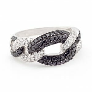 Black & White Diamond Fancy-Link Dress Ring | 18 Carat White Gold Fancy-Link Ring With White & Black Diamonds