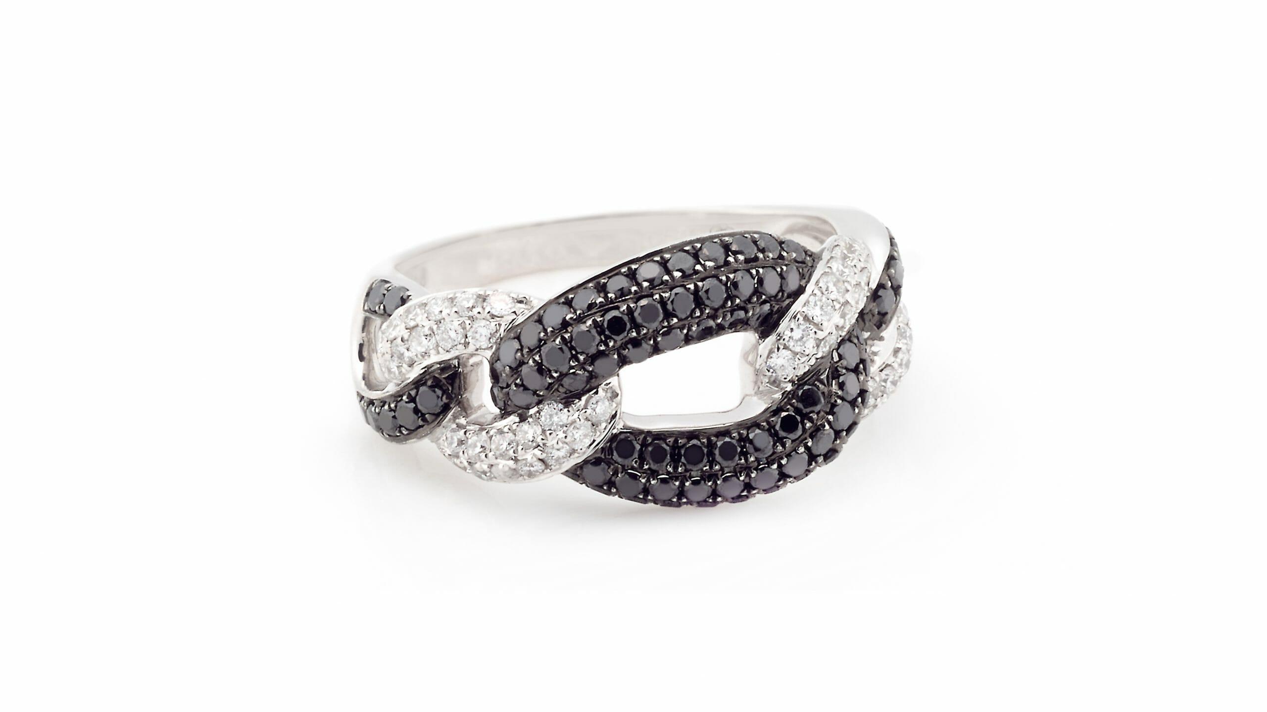 Black & White Diamond Fancy-Link Dress Ring | 18 Carat White Gold Fancy-Link Ring With White & Black Diamonds