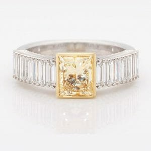 Yellow Princess Diamond Dress Ring | Yellow & White Gold Dress Ring With Princess Cut Yellow Diamond & WHite Baguette Diamonds Down The Band