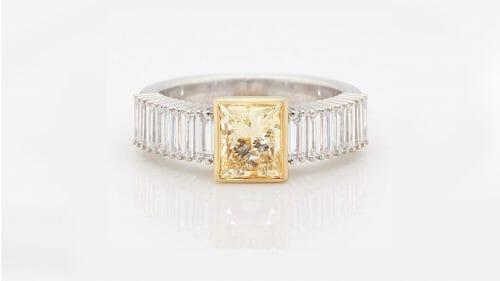 Yellow Princess Diamond Dress Ring | Yellow & White Gold Dress Ring With Princess Cut Yellow Diamond & WHite Baguette Diamonds Down The Band