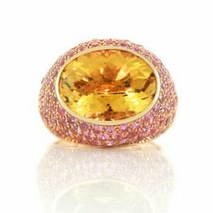 Citrine & pink sapphire gemstone ring set in 18ct rose gold