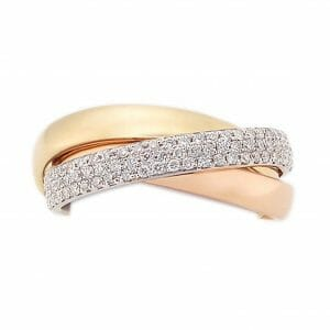 Two-Tone Diamond Pavé Russian Band | 18ct white and rose gold Russian band ring with 81 white pavé-set diamonds