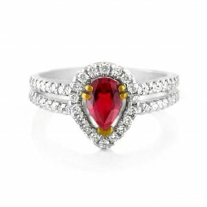 Ruby & Diamond Halo Ring 2 ? 18ct White & Rose Gold Ruby & Diamond Halo Ring