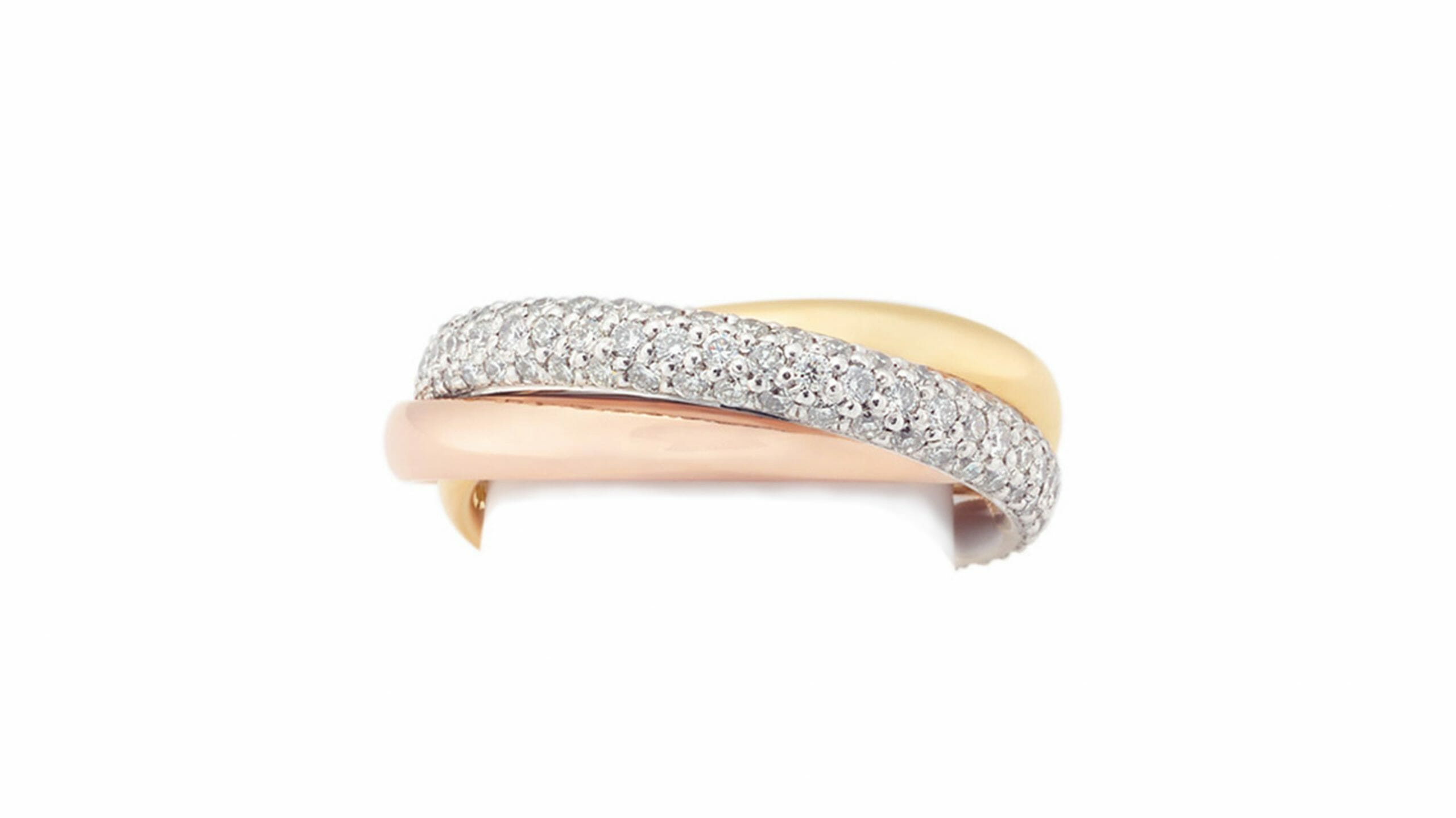 tri-colour pavé interlocking band | Pave-set diamonds in yellow, rose and white gold band.