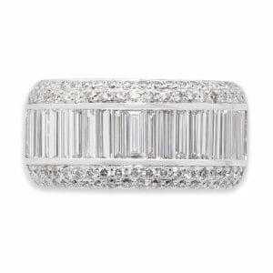 Round & Baguette Diamond Dress Ring | 18ct White Gold Dress Ring