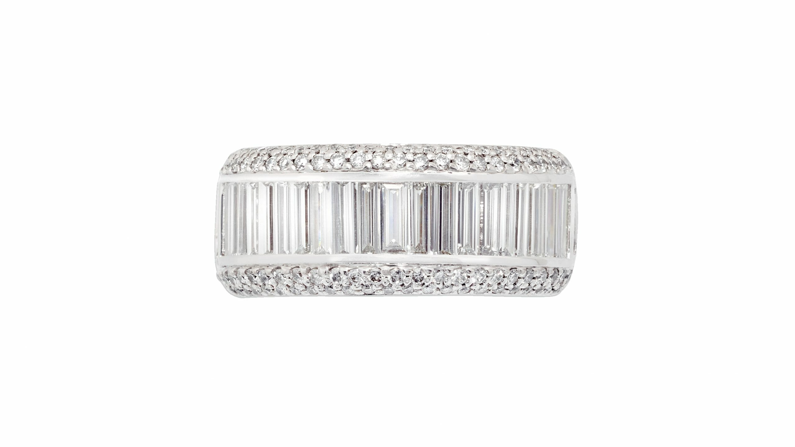 baguette diamond dress ring | 18ct white gold diamond dress ring