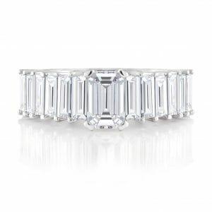 Emerald & Baguette Dress Ring   White gold, emerald and baguette cut diamond dress ring