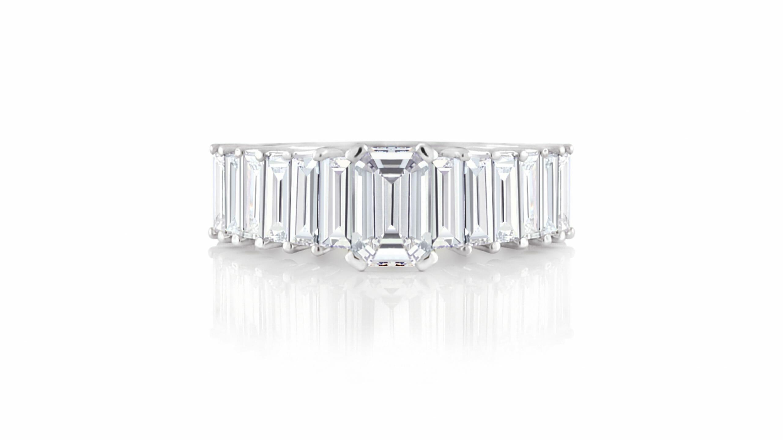 Emerald & Baguette Dress Ring | White gold, emerald and baguette cut diamond dress ring