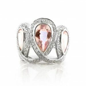 Teardrop Morganite & Diamond Dress Ring
