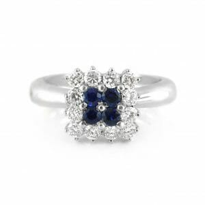 diamond & sapphire illusion ring | 118 carat white gold sapphire and diamond square cluster ring.