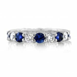Sapphire & Diamond Full Eternity Ring | 18ct White Gold Full Eternity Ring With 9 Blue Sapphires And 9 White Diamonds