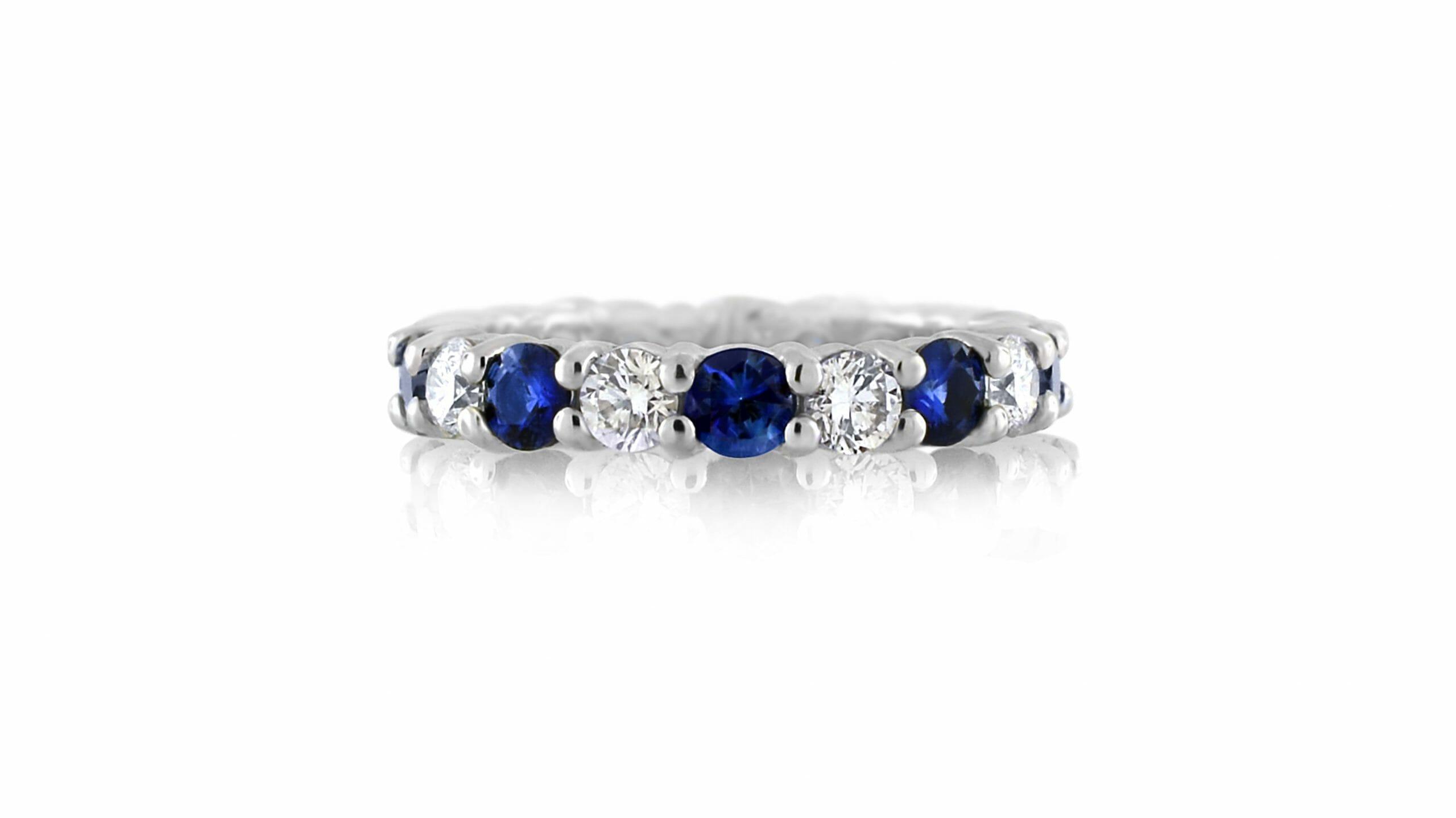 Sapphire & Diamond Full Eternity Ring | 18ct White Gold Full Eternity Ring With 9 Blue Sapphires And 9 White Diamonds