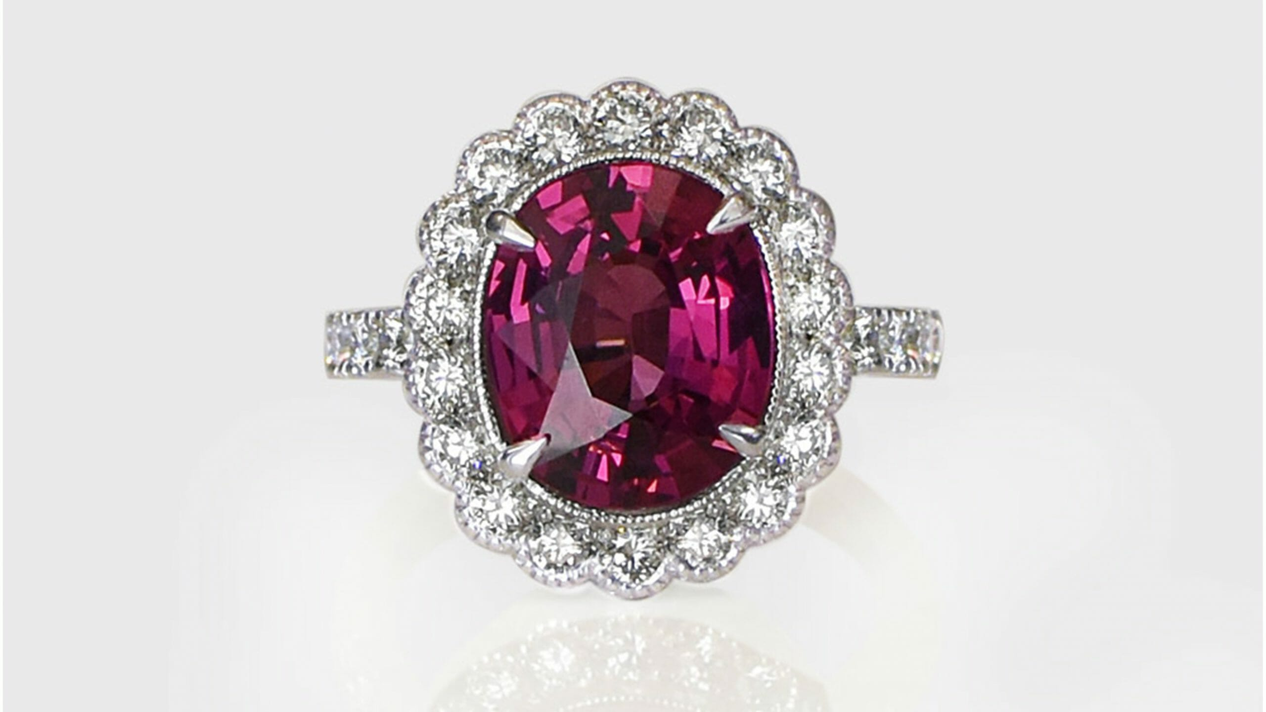rhodolite & diamond halo ring | 18 carat handcrafted rhodolite gemstone and diamond halo ring