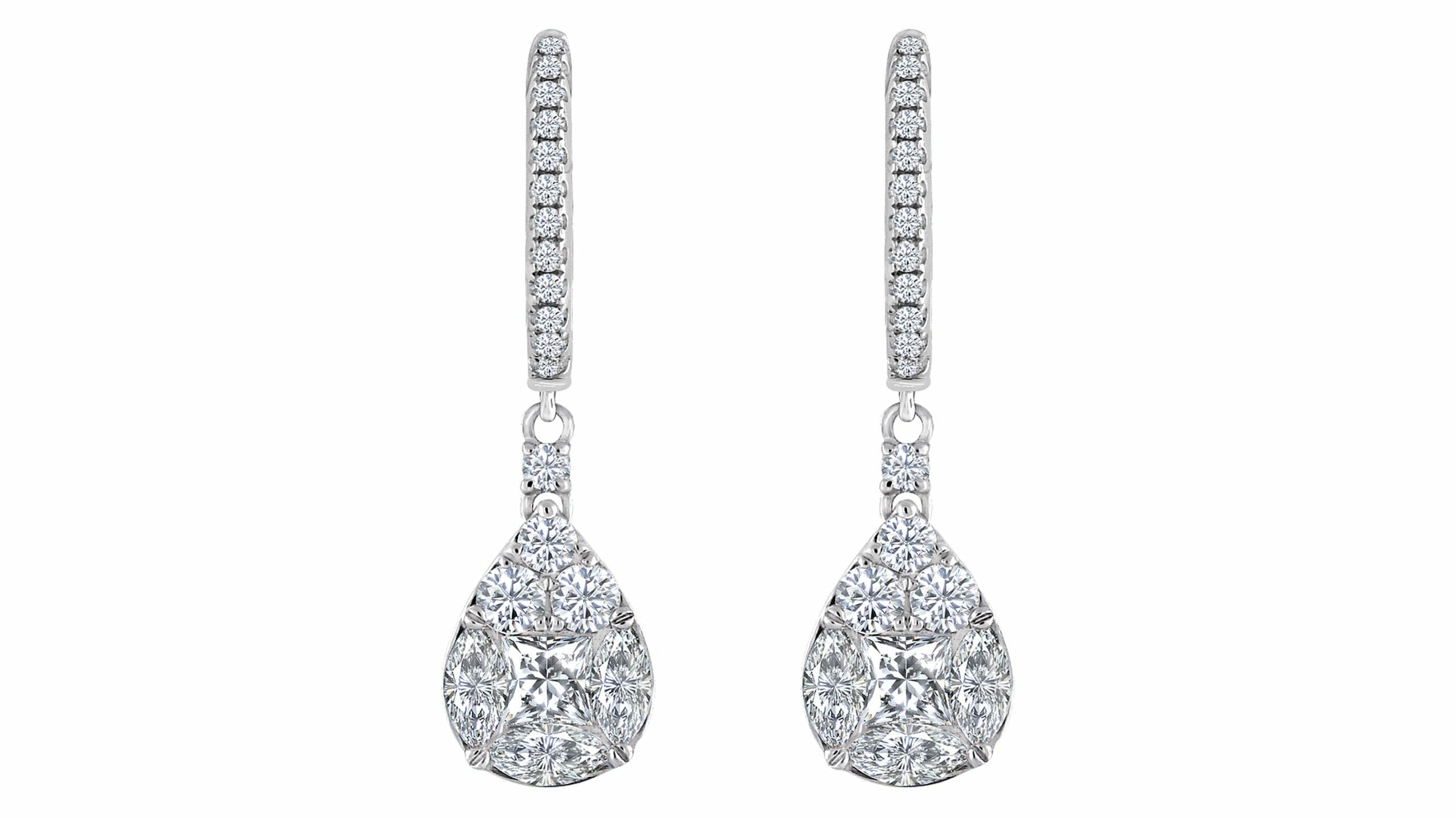 Diamond Illusion Cluster Earrings 2
