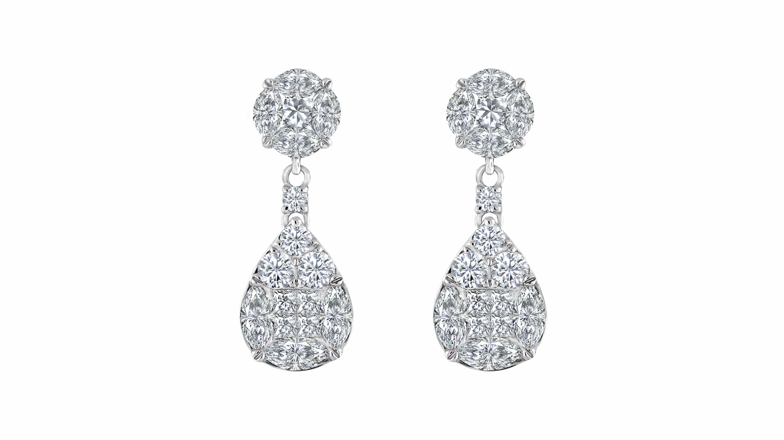 Diamond Illusion Cluster Earrings 1