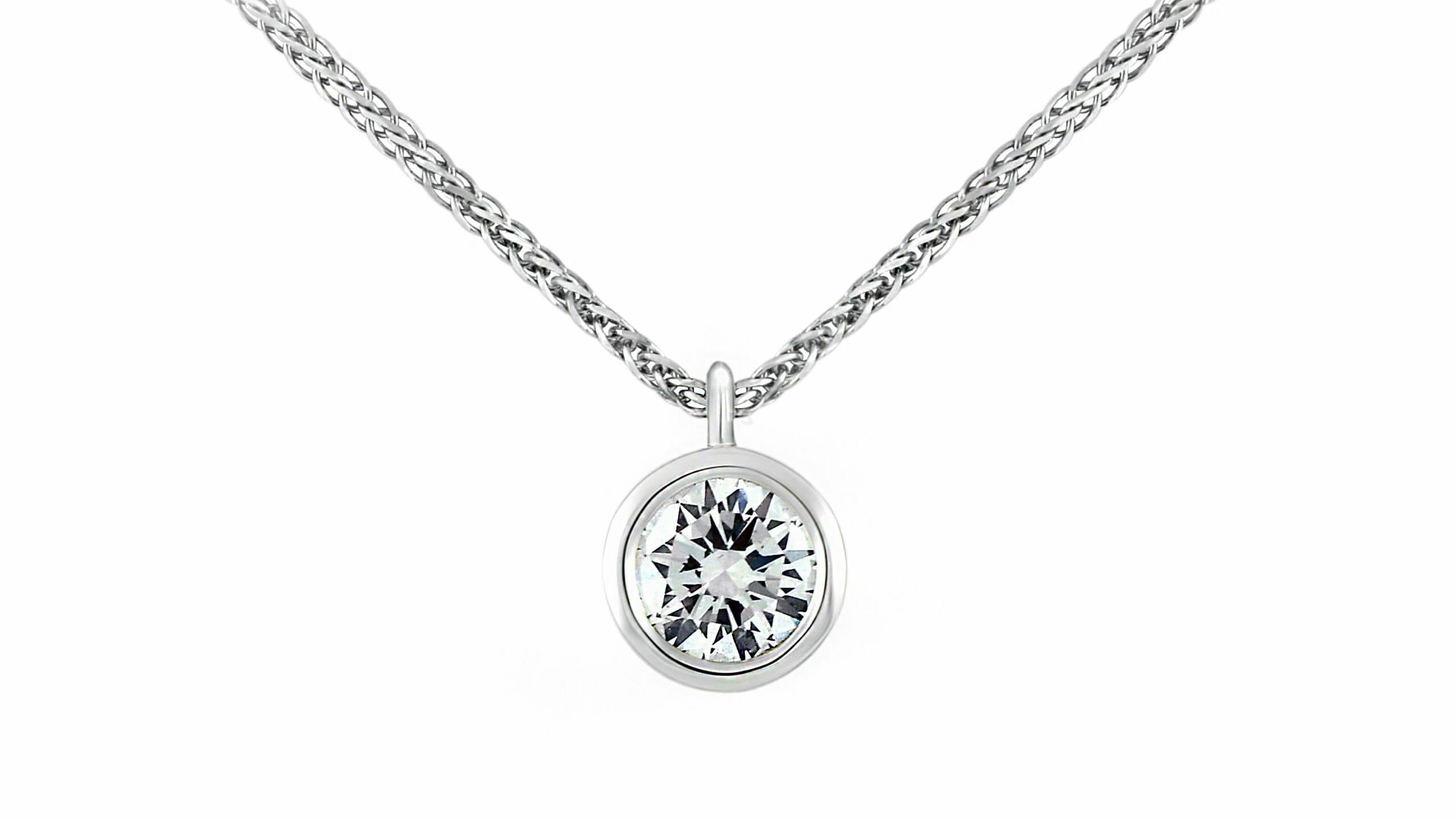 Tube-set solitaire diamond pendant