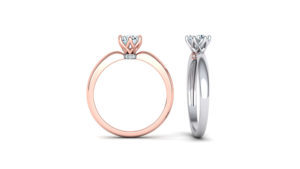 6 Claw Diamond Crossover Solitaire | Diamond engagement ring set in rose and white gold